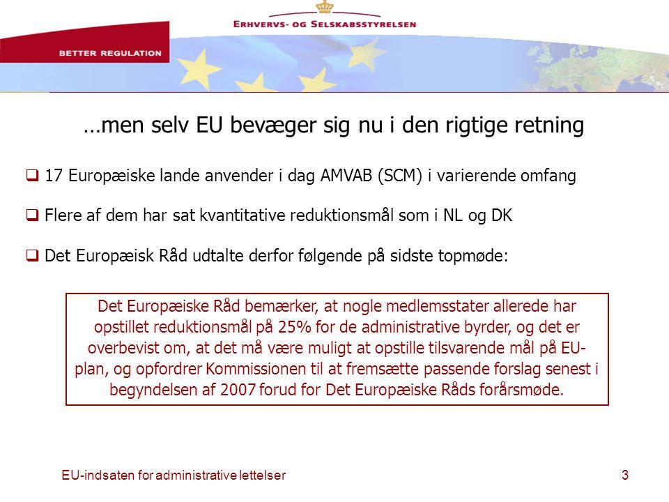 EU-indsaten for administrative lettelser3 …men selv EU bevæger sig nu i den rigtige retning  17 Europæiske lande anvender i dag AMVAB (SCM) i varierende omfang  Flere af dem har sat kvantitative reduktionsmål som i NL og DK  Det Europæisk Råd udtalte derfor følgende på sidste topmøde: Det Europæiske Råd bemærker, at nogle medlemsstater allerede har opstillet reduktionsmål på 25% for de administrative byrder, og det er overbevist om, at det må være muligt at opstille tilsvarende mål på EU- plan, og opfordrer Kommissionen til at fremsætte passende forslag senest i begyndelsen af 2007 forud for Det Europæiske Råds forårsmøde.
