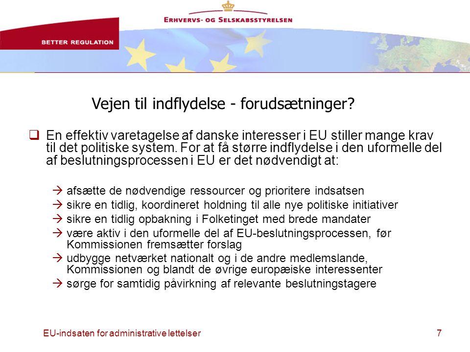 EU-indsaten for administrative lettelser7  En effektiv varetagelse af danske interesser i EU stiller mange krav til det politiske system.