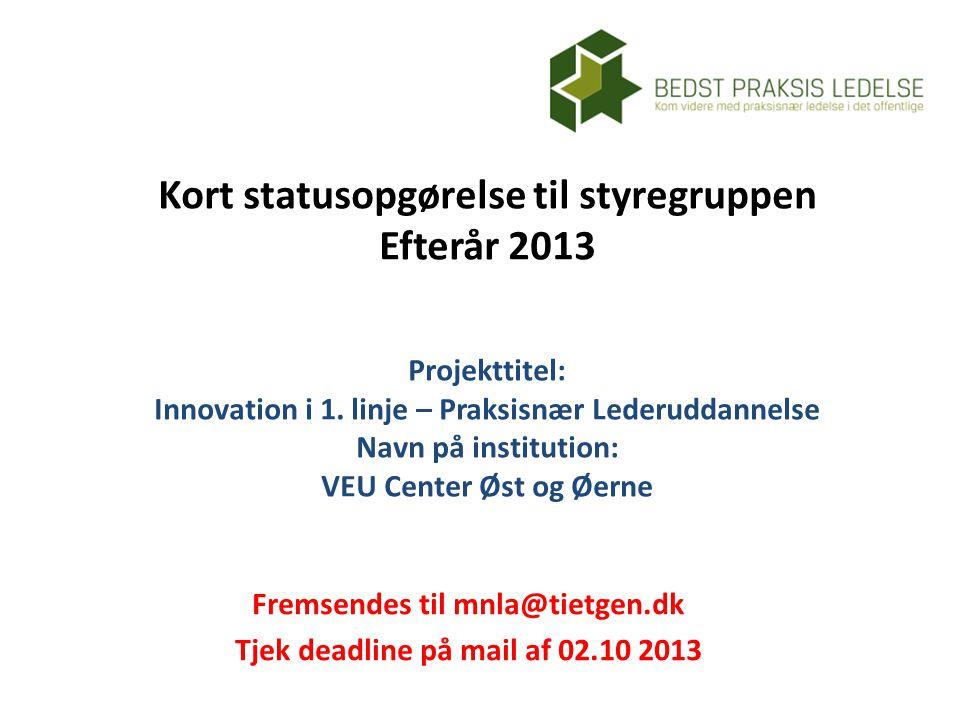 Kort statusopgørelse til styregruppen Efterår 2013 Projekttitel: Innovation i 1.