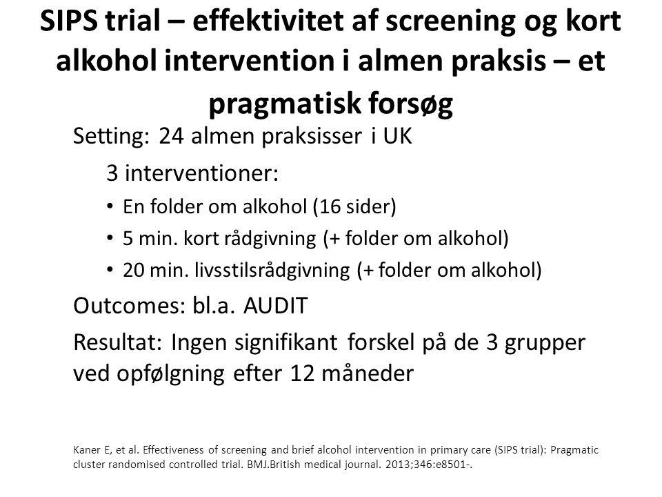 SIPS trial – effektivitet af screening og kort alkohol intervention i almen praksis – et pragmatisk forsøg Setting: 24 almen praksisser i UK 3 interventioner: • En folder om alkohol (16 sider) • 5 min.