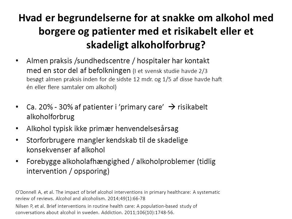 Hvad er begrundelserne for at snakke om alkohol med borgere og patienter med et risikabelt eller et skadeligt alkoholforbrug.
