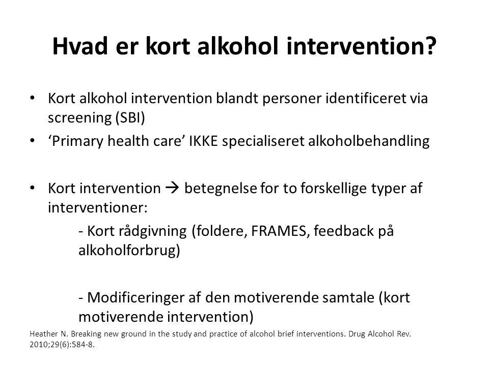Hvad er kort alkohol intervention.