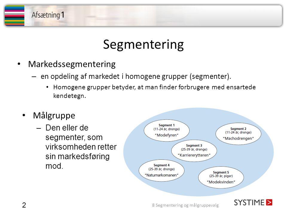 Segmentering 2 • Markedssegmentering – en opdeling af markedet i homogene grupper (segmenter). • Homogene grupper betyder, at man finder forbrugere me