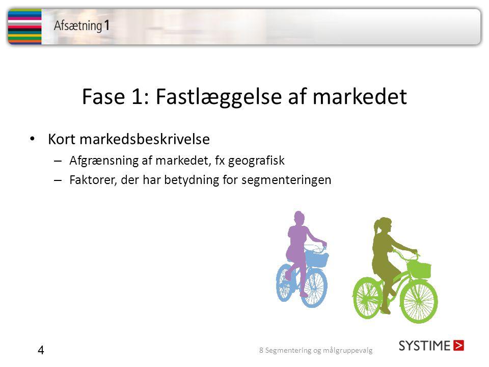 Fase 1: Fastlæggelse af markedet 4 • Kort markedsbeskrivelse – Afgrænsning af markedet, fx geografisk – Faktorer, der har betydning for segmenteringen