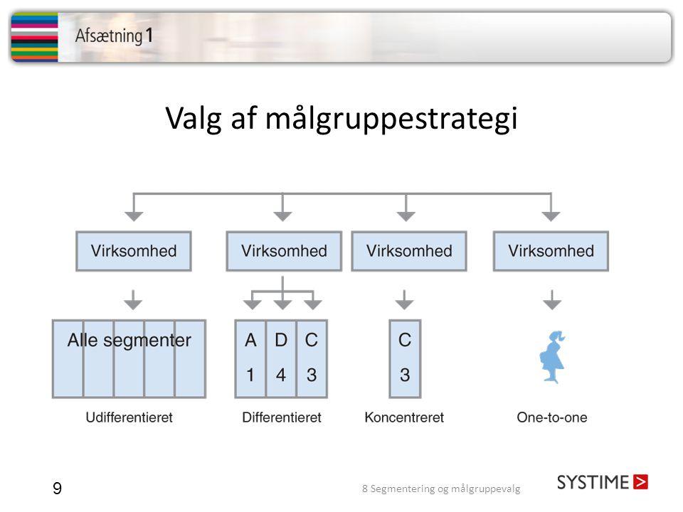 Valg af målgruppestrategi 9 8 Segmentering og målgruppevalg