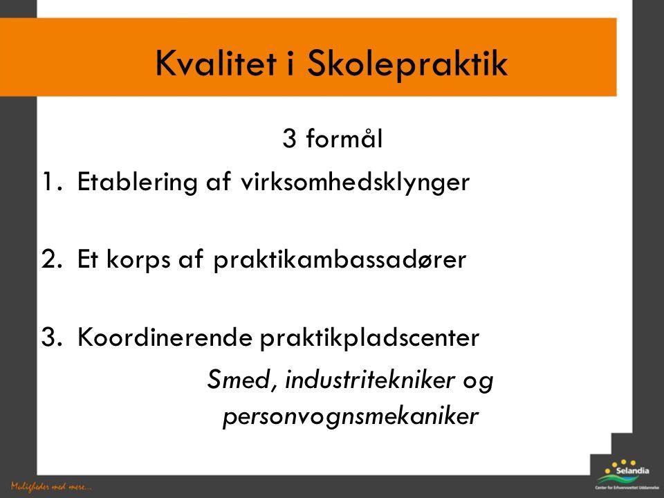 3 formål 1.Etablering af virksomhedsklynger 2.Et korps af praktikambassadører 3.Koordinerende praktikpladscenter Smed, industritekniker og personvognsmekaniker