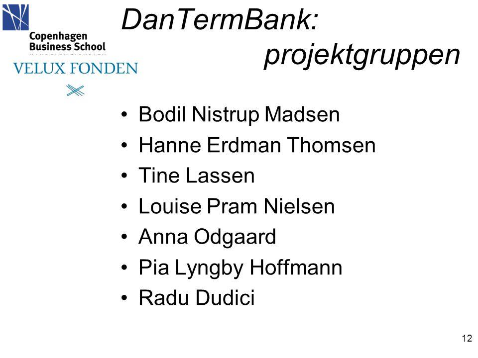 DanTermBank: projektgruppen 12 •Bodil Nistrup Madsen •Hanne Erdman Thomsen •Tine Lassen •Louise Pram Nielsen •Anna Odgaard •Pia Lyngby Hoffmann •Radu Dudici