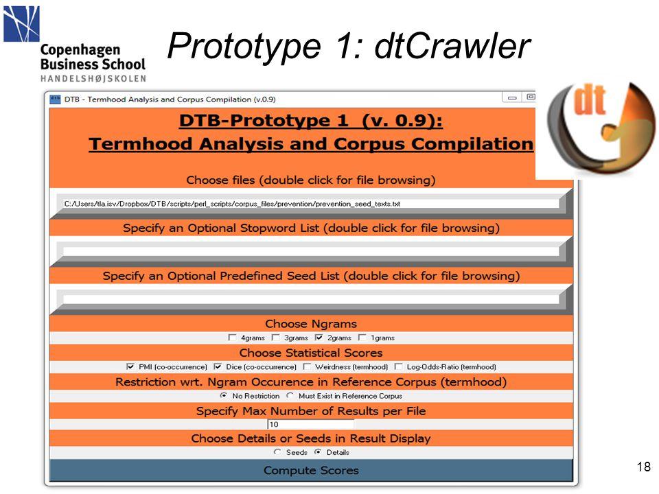 Prototype 1: dtCrawler 18 het.ibc@cbs.dk DTB workshop, Copenhagen, 2012