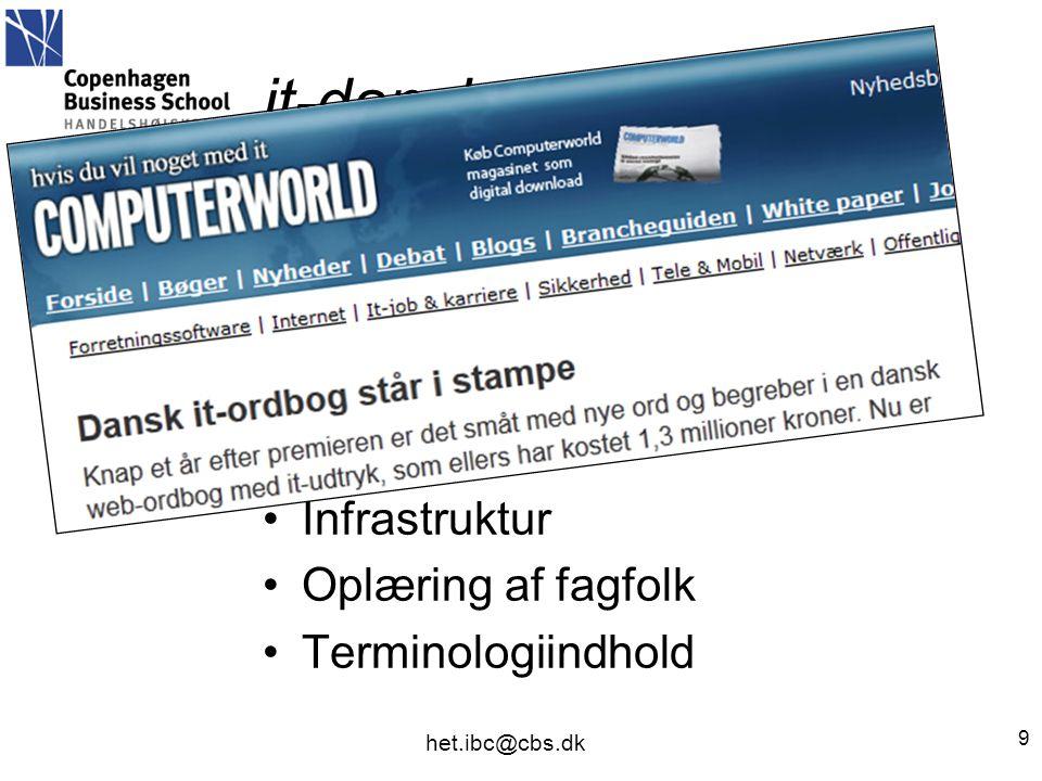 it-dansk •it-terminologiudvalget •Villum Kann Rasmussen-støtte •Infrastruktur •Oplæring af fagfolk •Terminologiindhold 9 het.ibc@cbs.dk