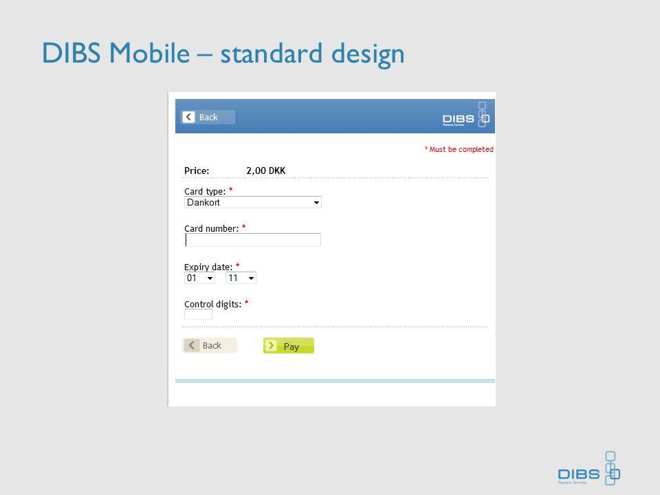 DIBS Mobile – standard design