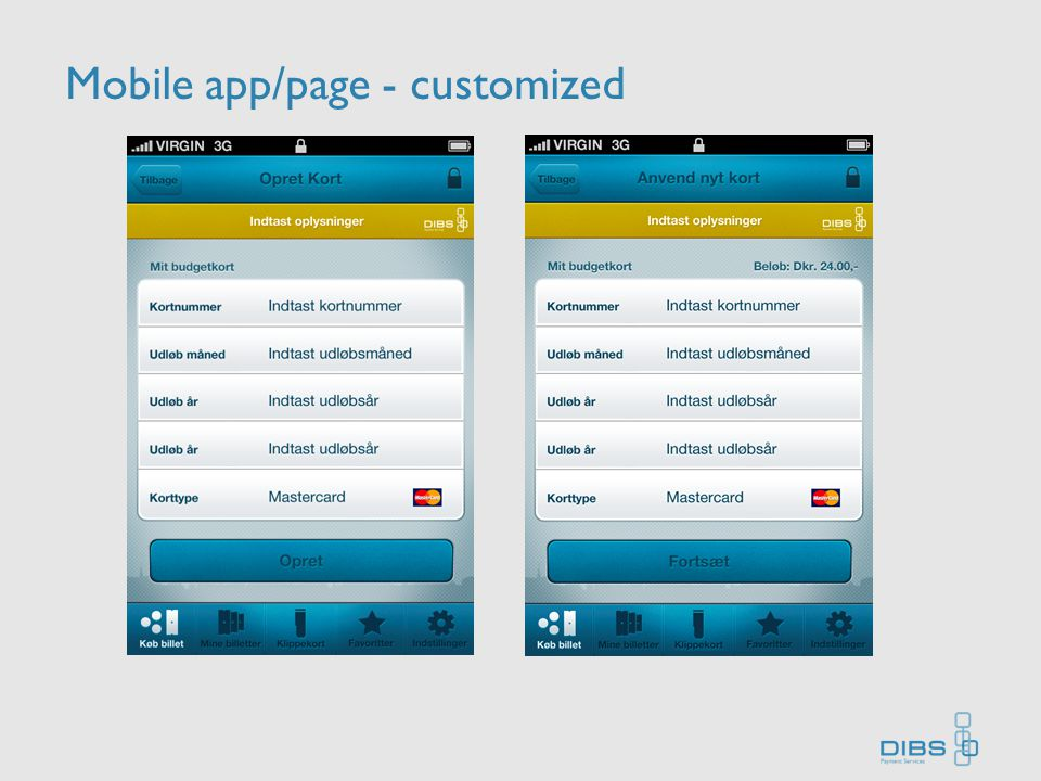 Mobile app/page - customized