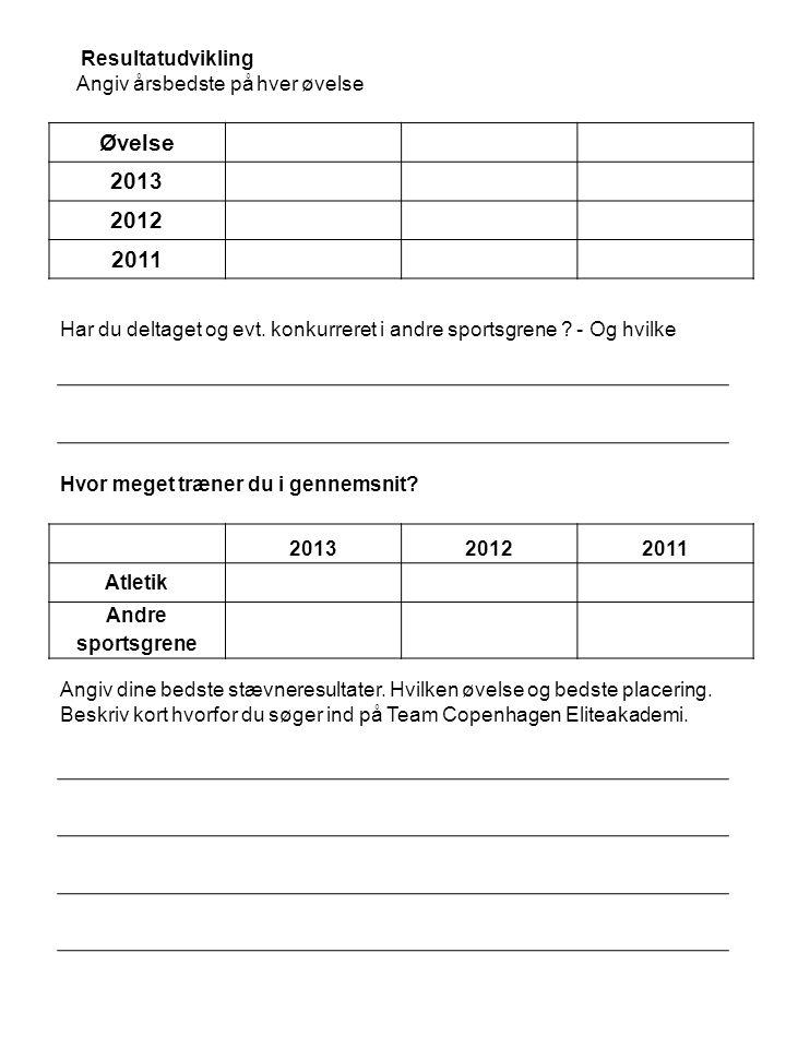 Resultatudvikling Angiv årsbedste på hver øvelse Øvelse 2013 2012 2011 Har du deltaget og evt.