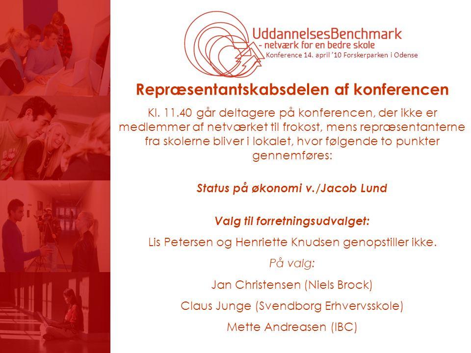 Konference 14. april '10 Forskerparken i Odense Repræsentantskabsdelen af konferencen Kl.