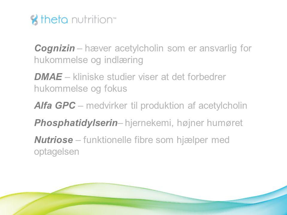 Cognizin – hæver acetylcholin som er ansvarlig for hukommelse og indlæring DMAE – kliniske studier viser at det forbedrer hukommelse og fokus Alfa GPC – medvirker til produktion af acetylcholin Phosphatidylserin– hjernekemi, højner humøret Nutriose – funktionelle fibre som hjælper med optagelsen