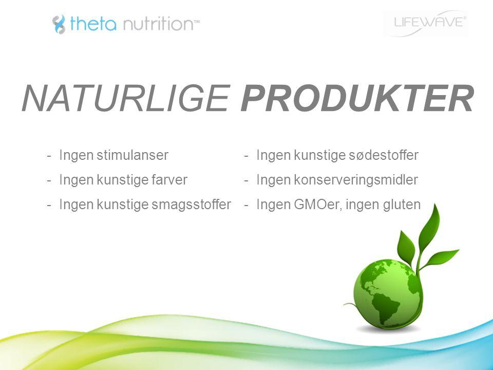 - Ingen stimulanser- Ingen kunstige sødestoffer - Ingen kunstige farver- Ingen konserveringsmidler - Ingen kunstige smagsstoffer- Ingen GMOer, ingen gluten NATURLIGE PRODUKTER