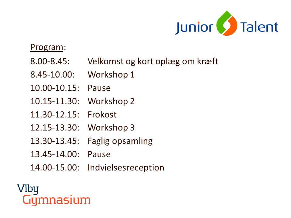Program: 8.00-8.45: Velkomst og kort oplæg om kræft 8.45-10.00: Workshop 1 10.00-10.15: Pause 10.15-11.30: Workshop 2 11.30-12.15: Frokost 12.15-13.30: Workshop 3 13.30-13.45: Faglig opsamling 13.45-14.00:Pause 14.00-15.00: Indvielsesreception