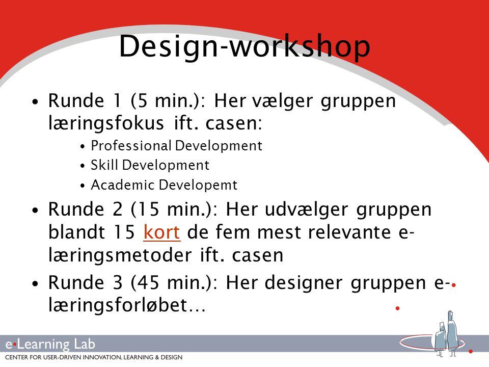 Design-workshop • Runde 1 (5 min.): Her vælger gruppen læringsfokus ift.