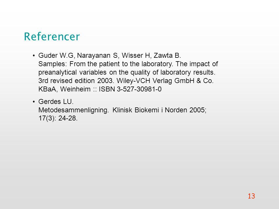 13 Referencer •Guder W.G, Narayanan S, Wisser H, Zawta B.