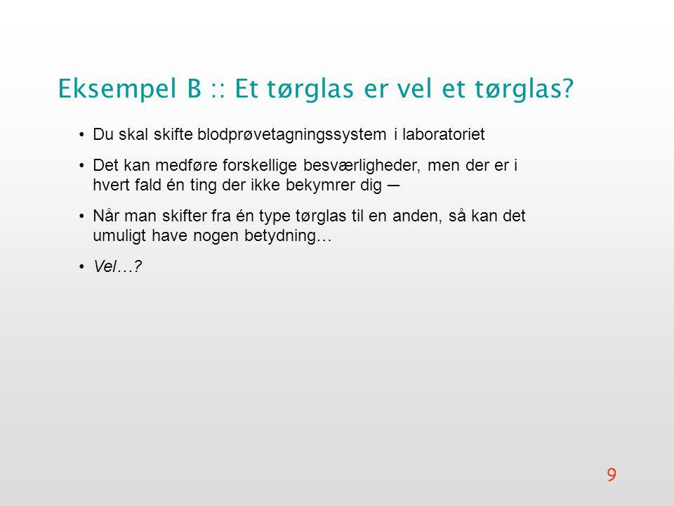 9 Eksempel B :: Et tørglas er vel et tørglas.