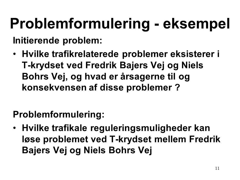 11 Problemformulering - eksempel Initierende problem: •Hvilke trafikrelaterede problemer eksisterer i T-krydset ved Fredrik Bajers Vej og Niels Bohrs Vej, og hvad er årsagerne til og konsekvensen af disse problemer .