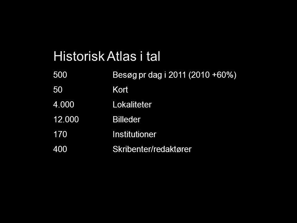Historisk Atlas i tal 500Besøg pr dag i 2011 (2010 +60%) 50 Kort 4.000 Lokaliteter 12.000 Billeder 170Institutioner 400Skribenter/redaktører
