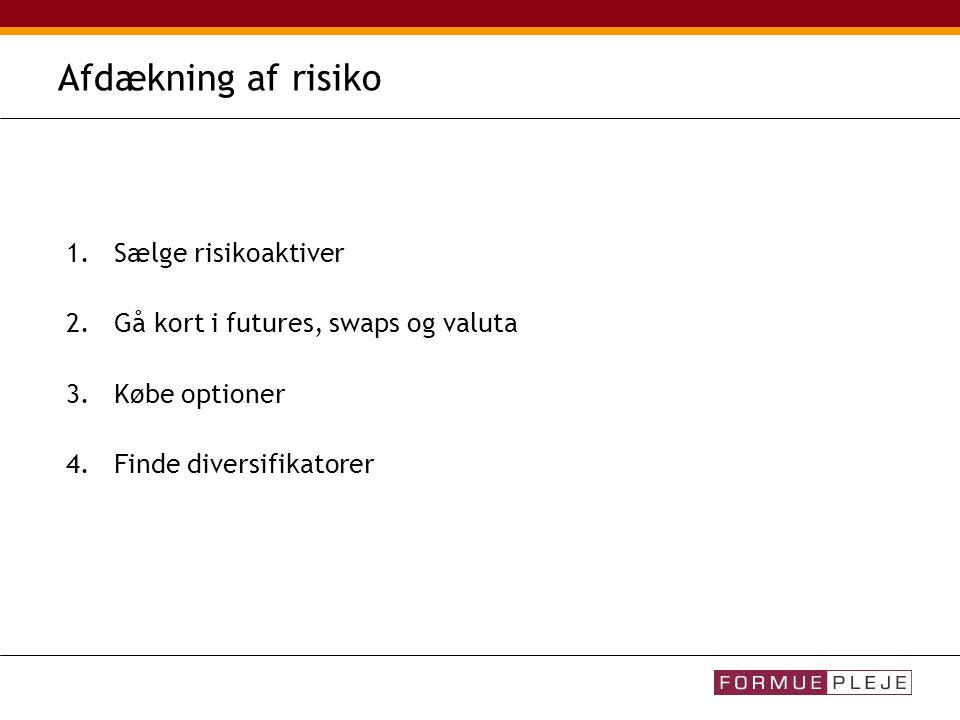 Afdækning af risiko 1.Sælge risikoaktiver 2.Gå kort i futures, swaps og valuta 3.Købe optioner 4.Finde diversifikatorer