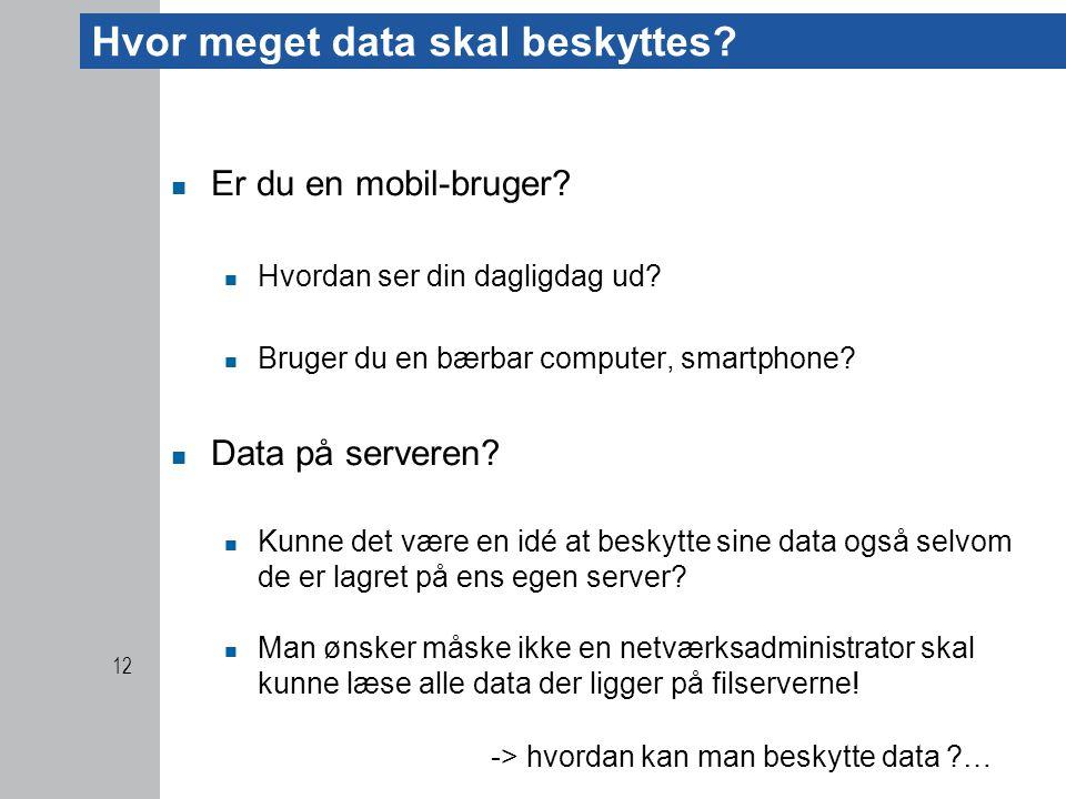 Hvor meget data skal beskyttes.  Er du en mobil-bruger.