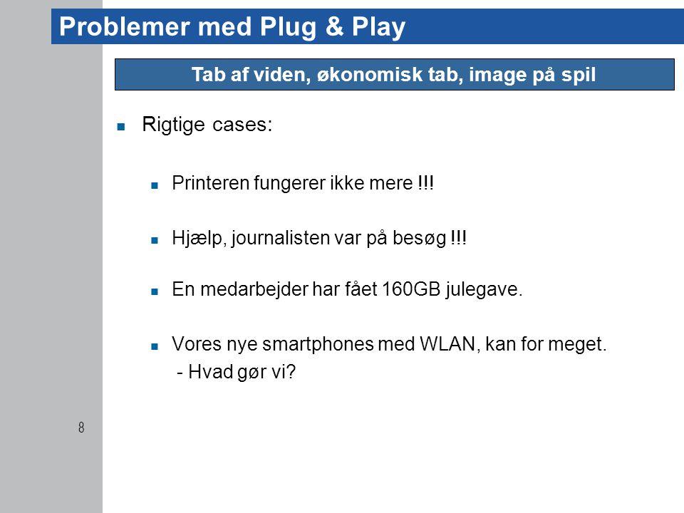 Problemer med Plug & Play  Rigtige cases:  Printeren fungerer ikke mere !!.
