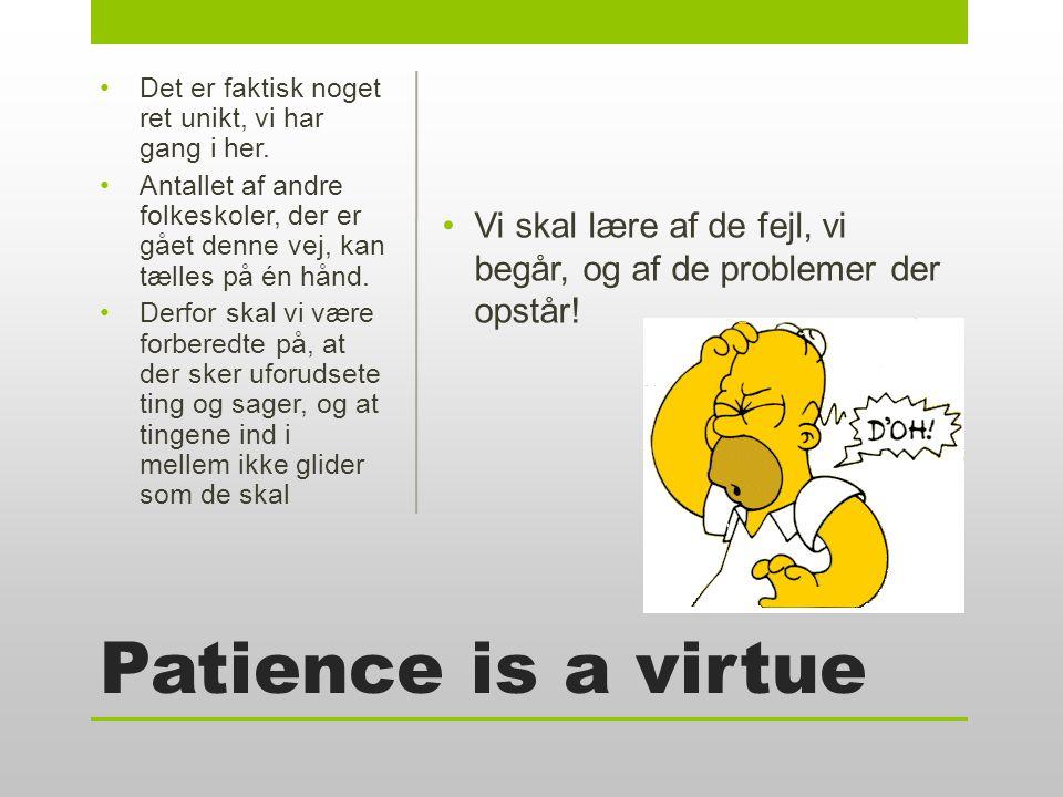 Patience is a virtue •Vi skal lære af de fejl, vi begår, og af de problemer der opstår.