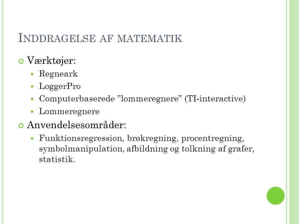 I NDDRAGELSE AF MATEMATIK Værktøjer:  Regneark  LoggerPro  Computerbaserede lommeregnere (TI-interactive)  Lommeregnere Anvendelsesområder:  Funktionsregression, brøkregning, procentregning, symbolmanipulation, afbildning og tolkning af grafer, statistik.
