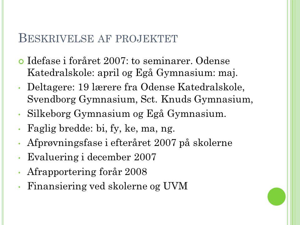 B ESKRIVELSE AF PROJEKTET Idefase i foråret 2007: to seminarer.