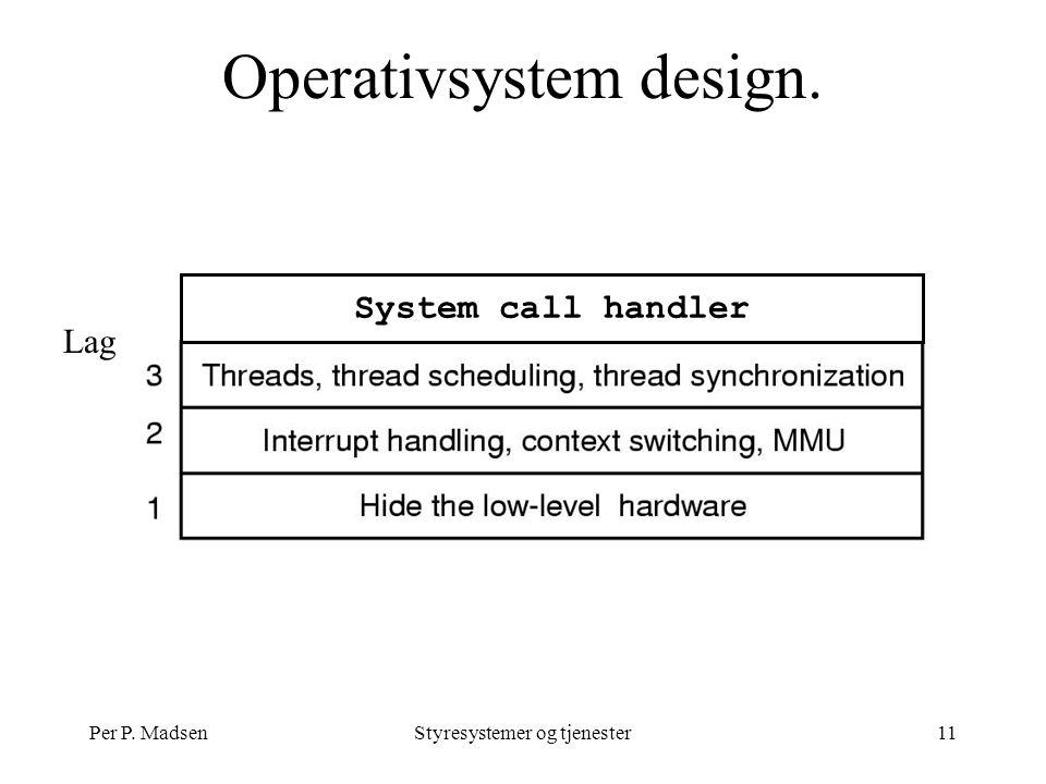 Per P. MadsenStyresystemer og tjenester11 Lag Operativsystem design. System call handler