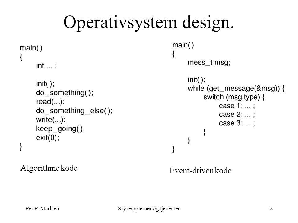 Per P. MadsenStyresystemer og tjenester2 Operativsystem design. Algorithme kode Event-driven kode