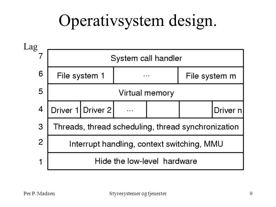 Per P. MadsenStyresystemer og tjenester9 Operativsystem design. Lag