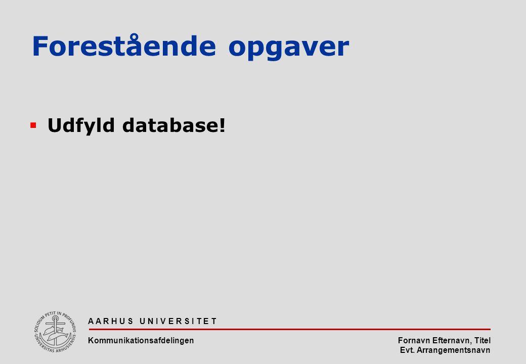 Fornavn Efternavn, Titel Evt. Arrangementsnavn Forestående opgaver  Udfyld database.