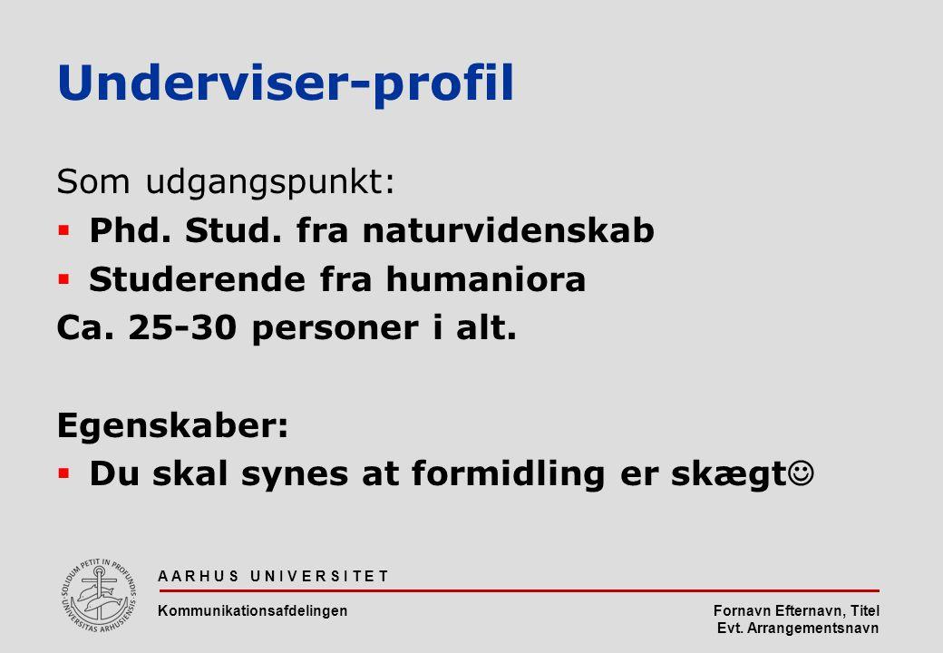 Fornavn Efternavn, Titel Evt. Arrangementsnavn Underviser-profil Som udgangspunkt:  Phd.