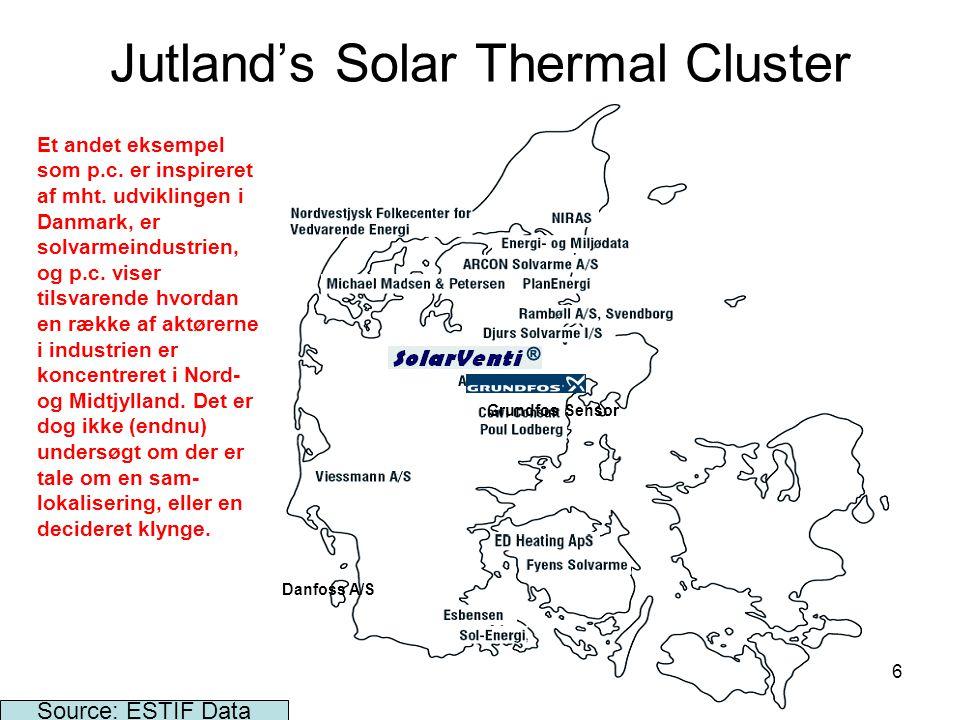 16 Jutland's Solar Thermal Cluster Source: ESTIF Data Danfoss A/S Grundfos Sensor Et andet eksempel som p.c.