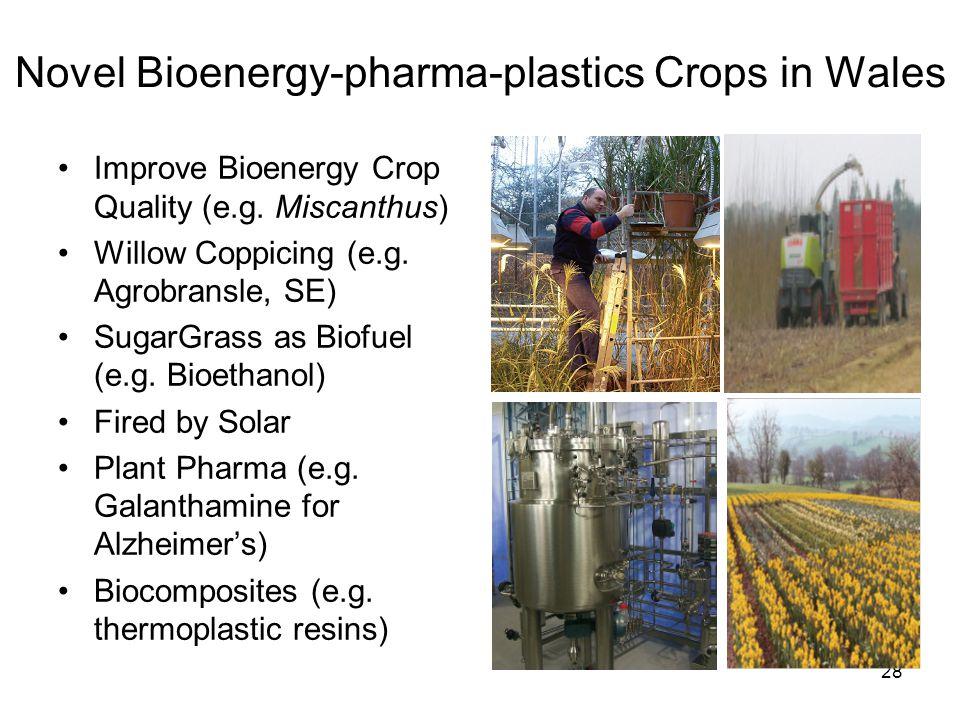 28 Novel Bioenergy-pharma-plastics Crops in Wales •Improve Bioenergy Crop Quality (e.g.