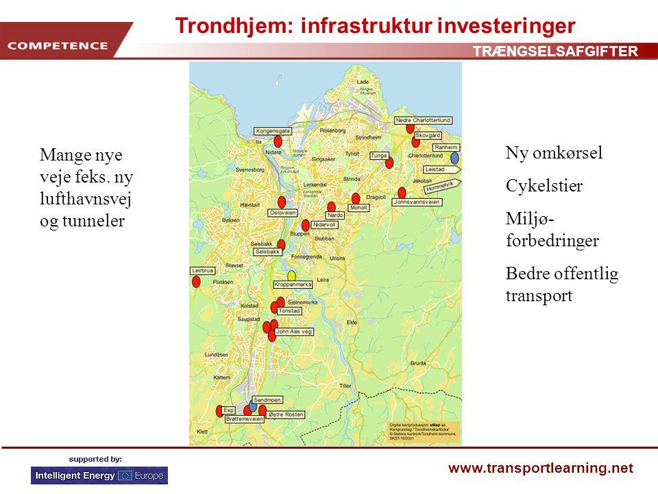 TRÆNGSELSAFGIFTER www.transportlearning.net Trondhjem: infrastruktur investeringer Mange nye veje feks.