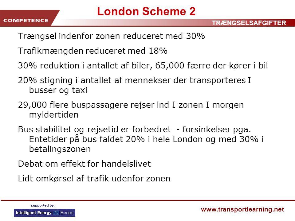 TRÆNGSELSAFGIFTER www.transportlearning.net London Scheme 2 Trængsel indenfor zonen reduceret med 30% Trafikmængden reduceret med 18% 30% reduktion i antallet af biler, 65,000 færre der kører i bil 20% stigning i antallet af mennekser der transporteres I busser og taxi 29,000 flere buspassagere rejser ind I zonen I morgen myldertiden Bus stabilitet og rejsetid er forbedret - forsinkelser pga.