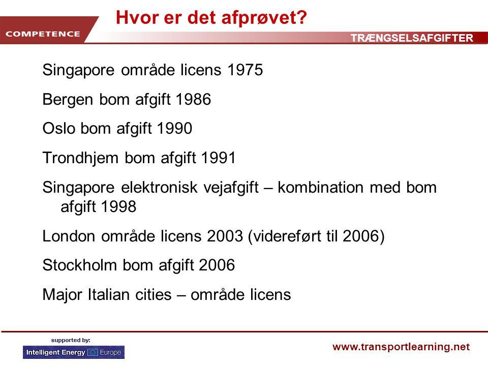 TRÆNGSELSAFGIFTER www.transportlearning.net Hvor er det afprøvet.