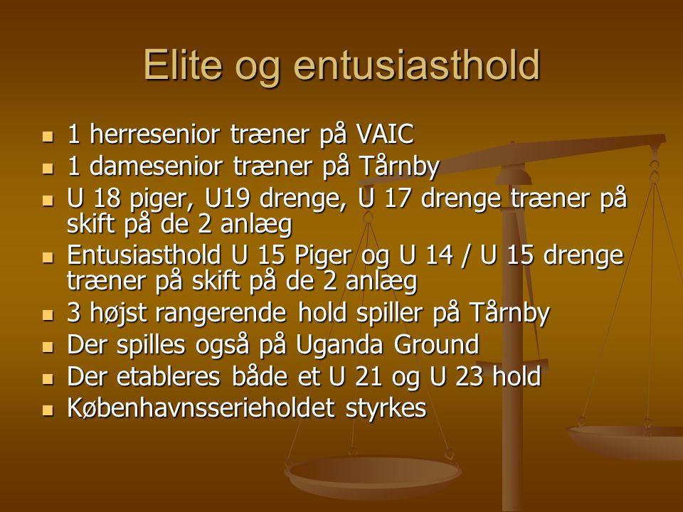 Elite og entusiasthold  1 herresenior træner på VAIC  1 damesenior træner på Tårnby  U 18 piger, U19 drenge, U 17 drenge træner på skift på de 2 anlæg  Entusiasthold U 15 Piger og U 14 / U 15 drenge træner på skift på de 2 anlæg  3 højst rangerende hold spiller på Tårnby  Der spilles også på Uganda Ground  Der etableres både et U 21 og U 23 hold  Københavnsserieholdet styrkes