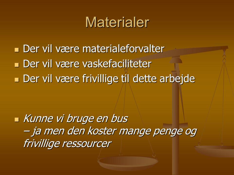 Materialer  Der vil være materialeforvalter  Der vil være vaskefaciliteter  Der vil være frivillige til dette arbejde  Kunne vi bruge en bus – ja men den koster mange penge og frivillige ressourcer