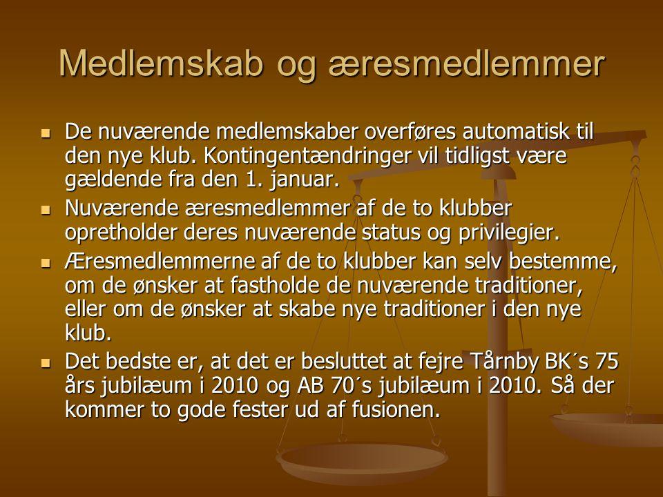 Medlemskab og æresmedlemmer  De nuværende medlemskaber overføres automatisk til den nye klub.