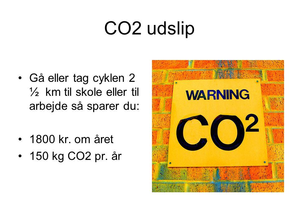 CO2 udslip •Gå eller tag cyklen 2 ½ km til skole eller til arbejde så sparer du: •1800 kr.