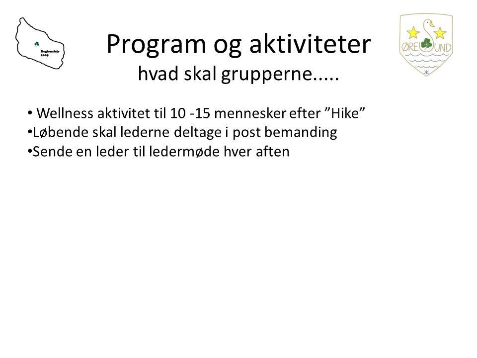 Program og aktiviteter hvad skal grupperne.....