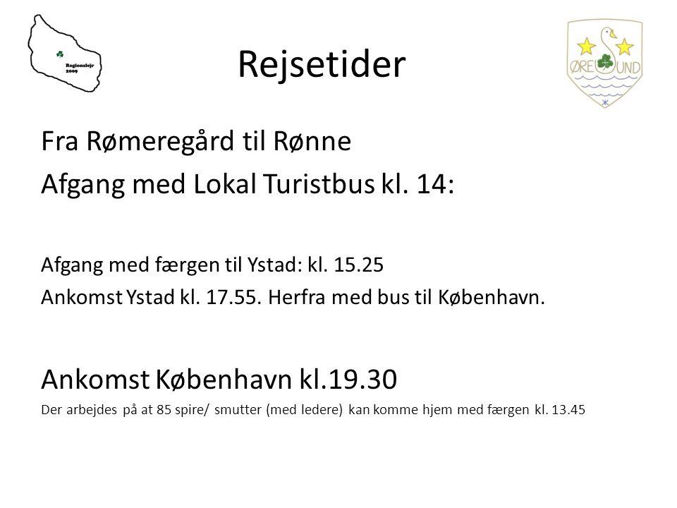 Rejsetider Fra Rømeregård til Rønne Afgang med Lokal Turistbus kl.