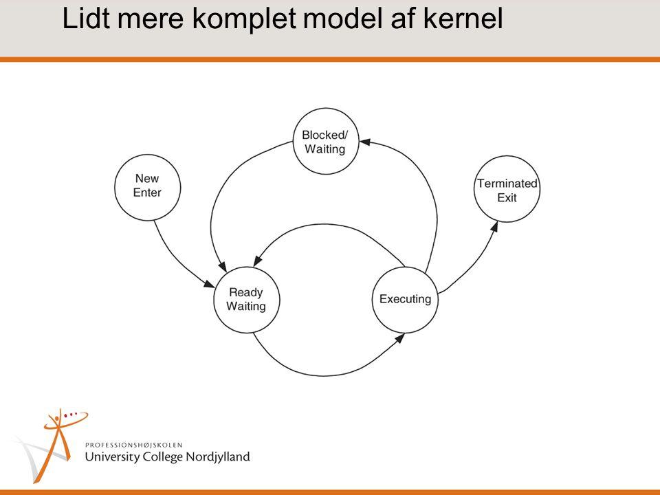 Lidt mere komplet model af kernel