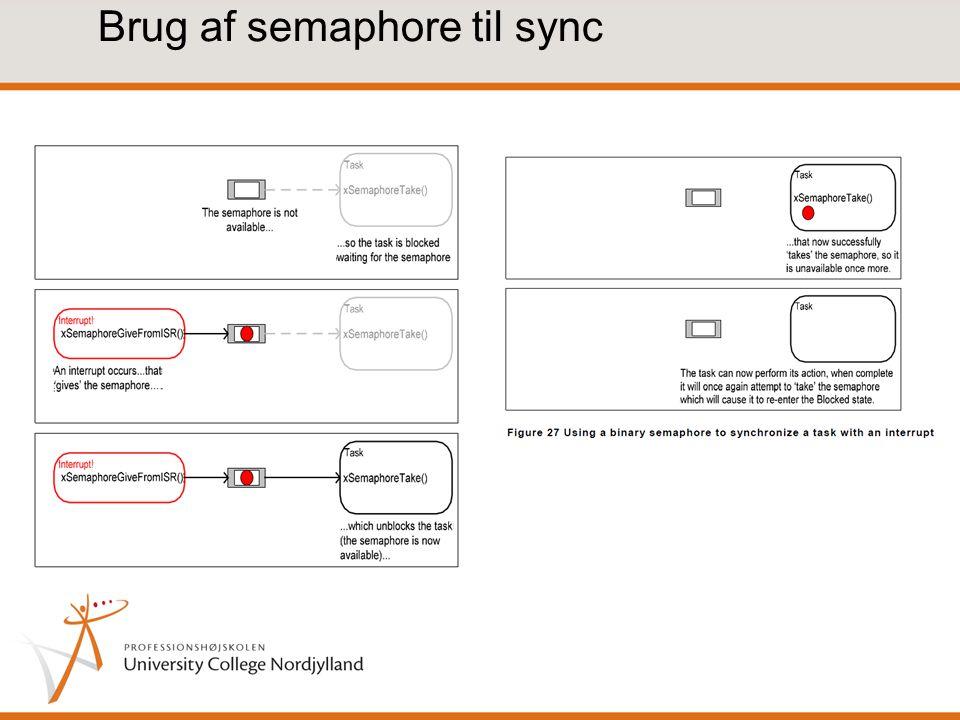 Brug af semaphore til sync