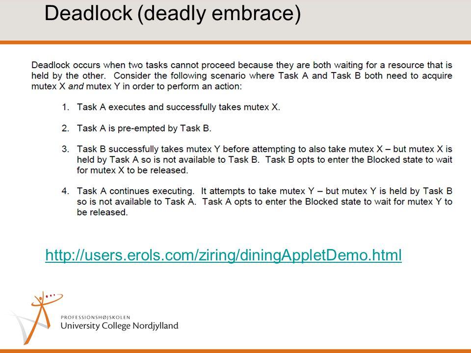 Deadlock (deadly embrace) http://users.erols.com/ziring/diningAppletDemo.html